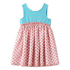 Baby Girl Marmellata Classics Bow Back Stripe & Polka-Dot Dress
