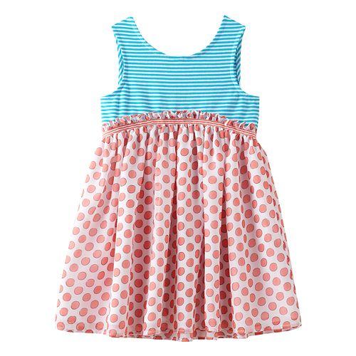 Baby Girl Marmellata Classics Bow Back Stripe & Polka-Dot Dress