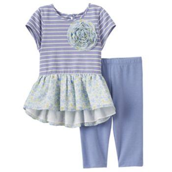 Toddler Girl Marmellata Classics Rosette Stripes & Floral Dress & Leggings Set