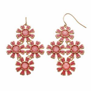 Pink Flower Kite Drop Earrings