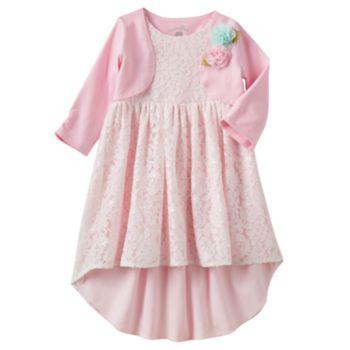 Toddler Girl Marmellata Classics Rosette Cardigan & Lace High-Low Hem Dress