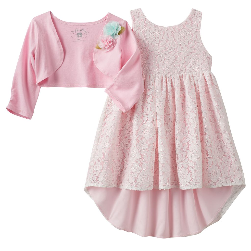 Toddler Girl Marmellata Classics Rosette Cardigan & Lace High-Low Hem Dress