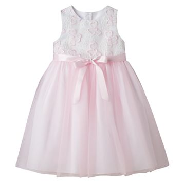 Toddler Girl Marmellata Classics Pink Embroidered Flower Bodice Dress