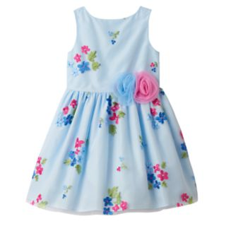 Toddler Girl Marmellata Classics Embroidered Flower Blue Dress