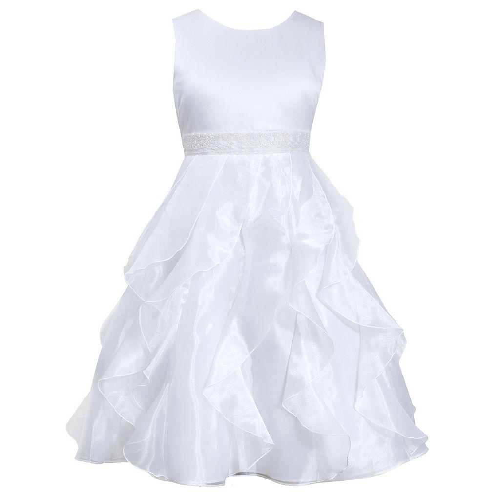 Girls 7-16 & Plus Size Bonnie Jean White Organza Cascade Dress