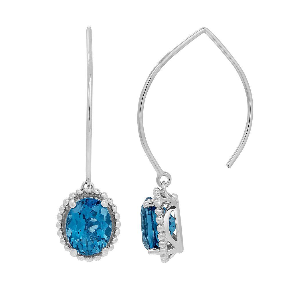 David Tutera Sterling Silver Simulated Blue Topaz Drop Earrings