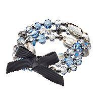 Simply Vera Vera Wang Iridescent Bead Tie Multi Strand Stretch Bracelet