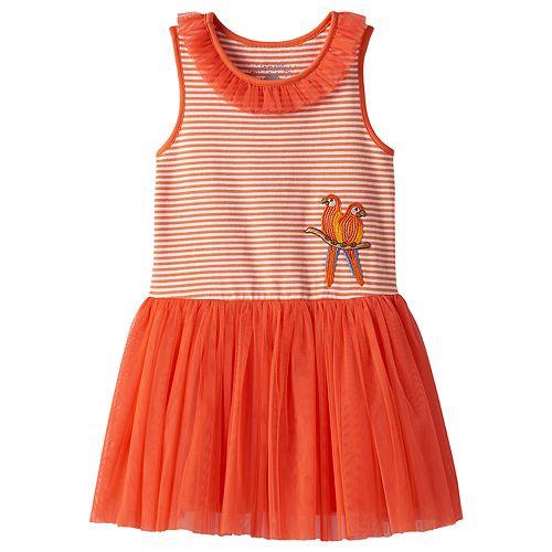 Toddler Girl Marmellata Classics Sequin Parrot Striped Mesh Dress