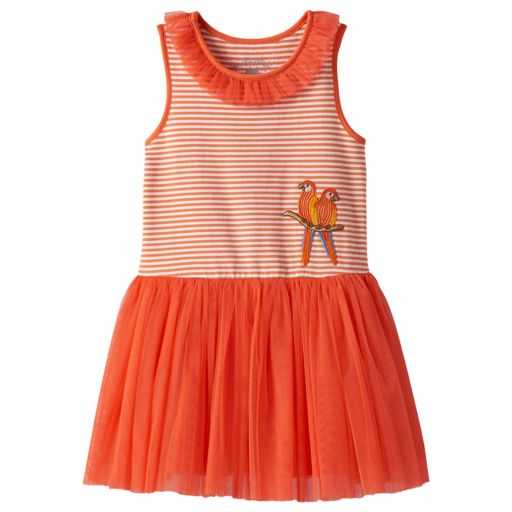 Toddler Girl Marmellata Classics Sequin Parrot Striped Mesh Dress