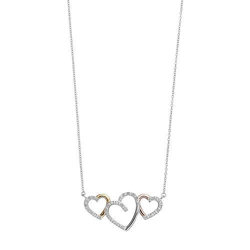 Tri Tone Sterling Silver 1/4 Carat T.W. Diamond Triple Heart Necklace