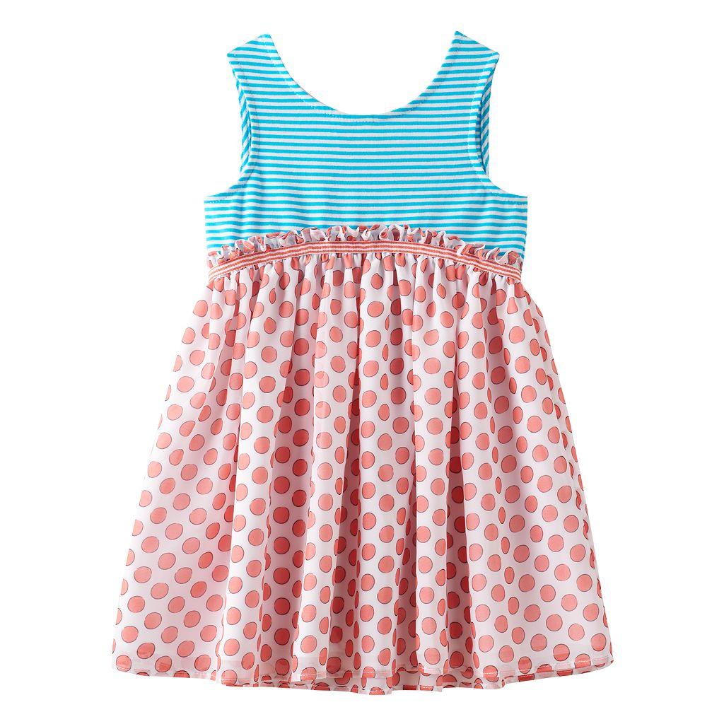 Toddler Girl Marmellata Classics Bow Back Stripe & Polka-Dot Dress