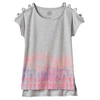 Girls 7-16 & Plus Size SO® Open Shoulder High-Low Split Hem Graphic Tee