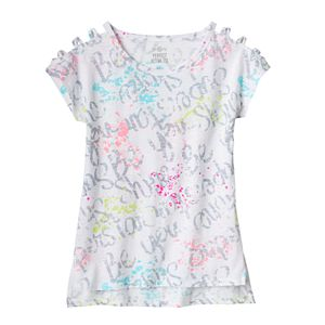 Girls 7-16 & Plus Size SO® Open Shoulder High-Low Split Hem Graphic Tee