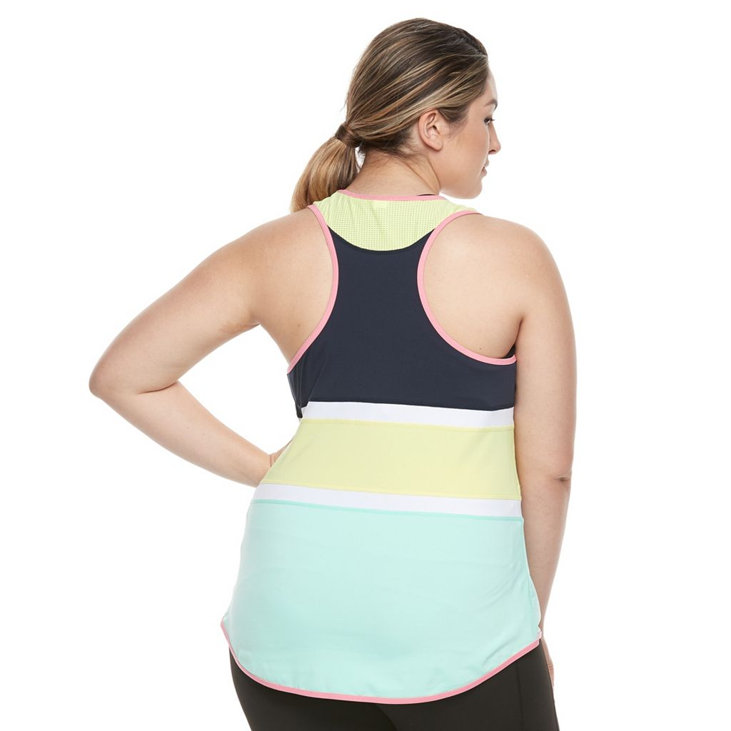 Plus Size FILA SPORT® Stripe Block Tank Top