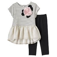 Girls 4-6x Marmellatta Classics Rosette Stripes & Polka-Dot Dress & Black Leggings Set
