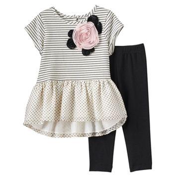 Girls 4-6x Marmellatta Classics Rosette Stripes & Polka-Dot Dress & Black Leggings Set
