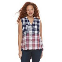 Plus Size Rock & Republic® Sleeveless Dip-Dye Plaid Top