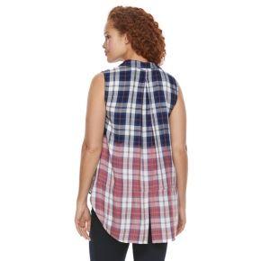 Plus Size Rock & Republic® Sleeveless Dip-Dye Plaid Top
