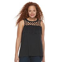 Plus Size Rock & Republic® Crochet Fringe Sleeveless Top