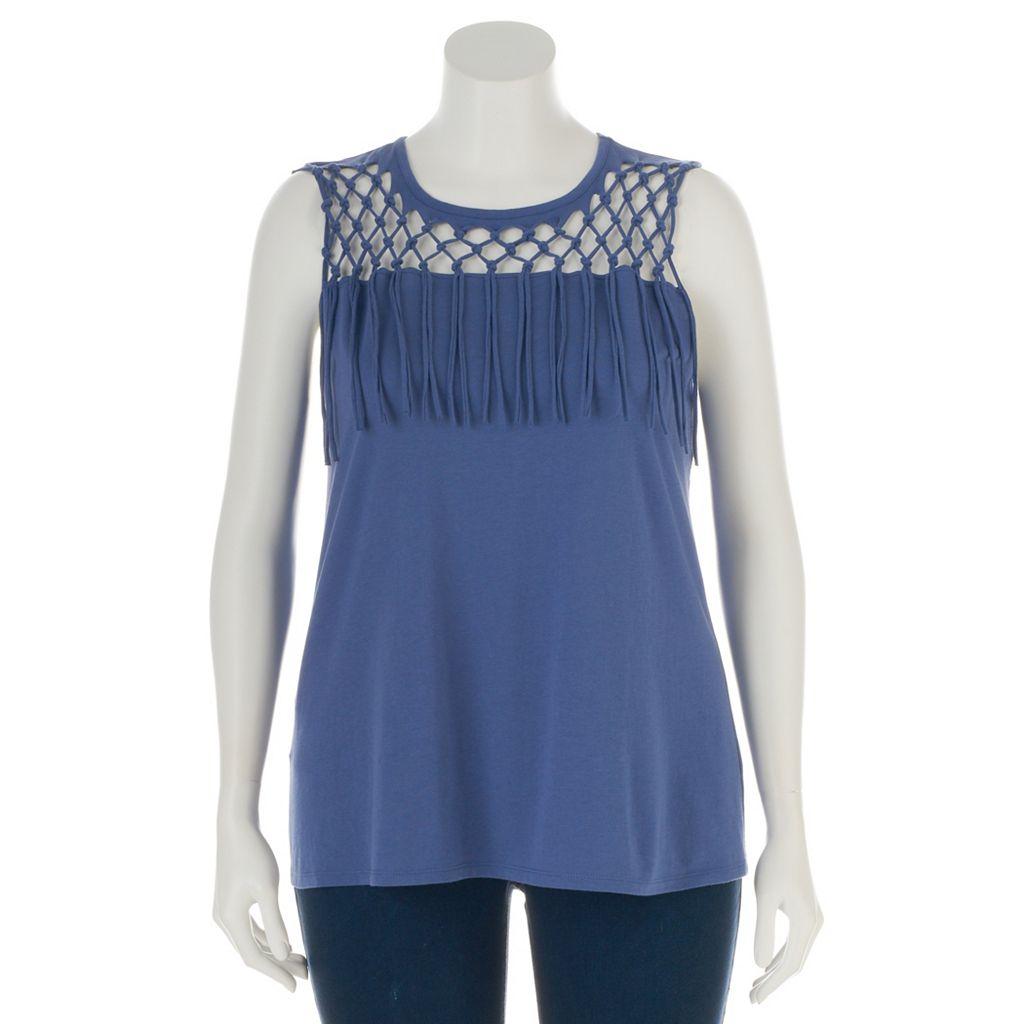 Plus Size Rock & Republic® Crochet Fringe Sleeveless Top