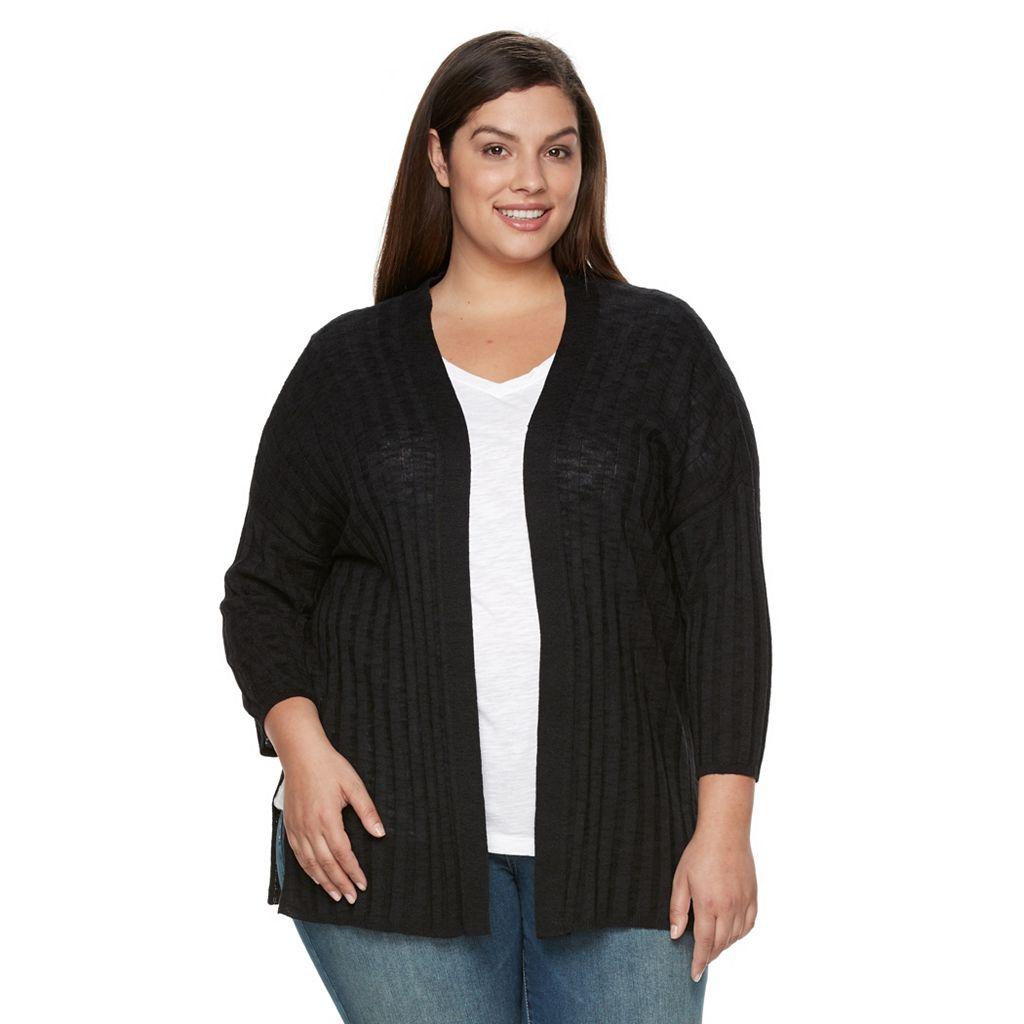 Plus Size Croft & Barrow® Ribbed Drop-Shoulder Cardigan