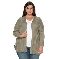 Plus Size Croft & Barrow® Ribbed Drop-Shoulder Cardigan