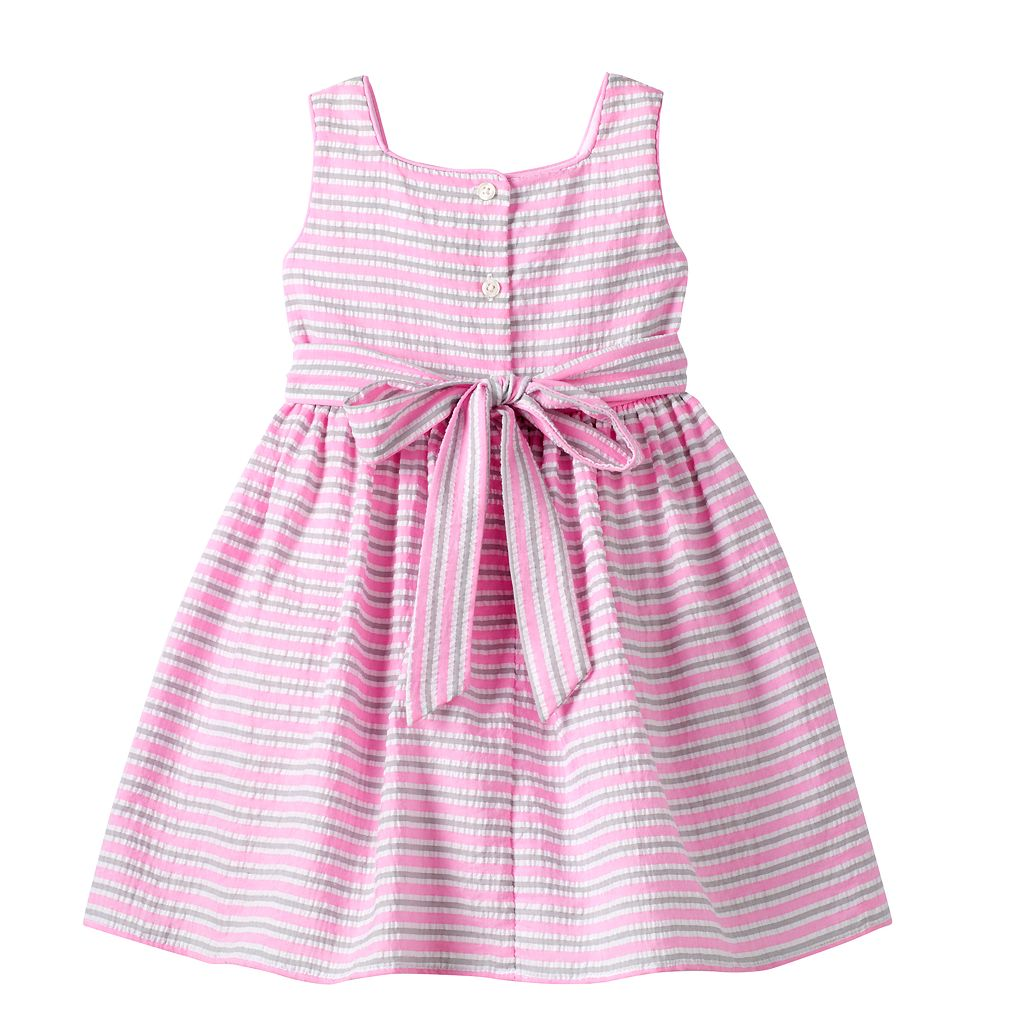 Girls 4-6x Marmellata Classics Pink & Gray Striped Seersucker Dress