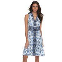 Petite Suite 7 Tile V-Neck Fit & Flare Dress