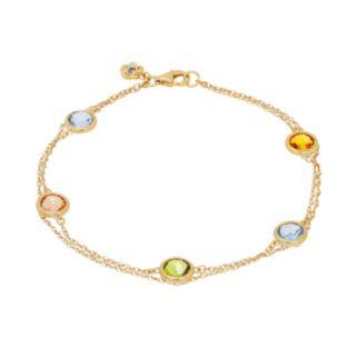 David Tutera 14k Gold Over Silver Simulated Gemstone Station Bracelet