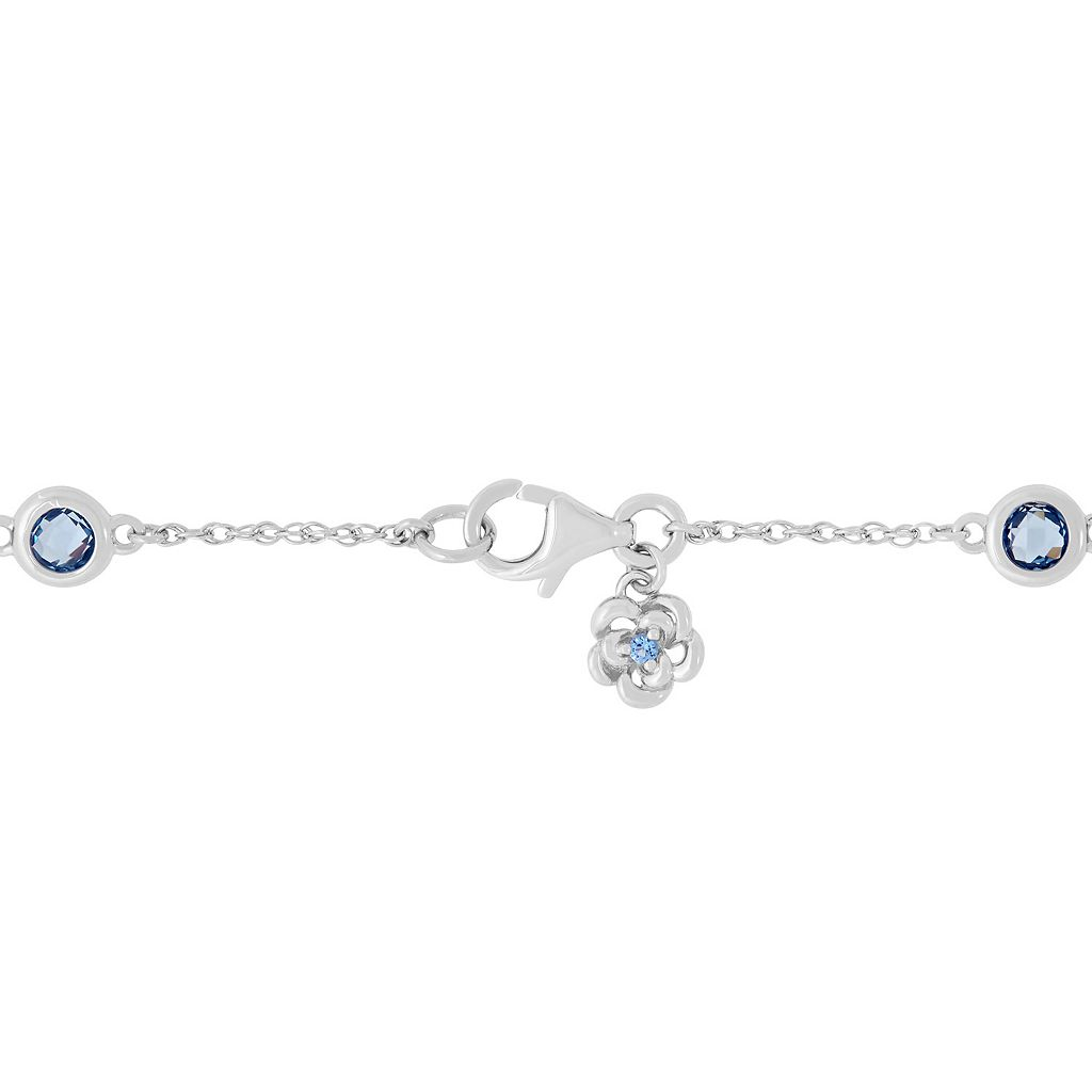 David Tutera Sterling Silver Simulated Blue Topaz Station Necklace