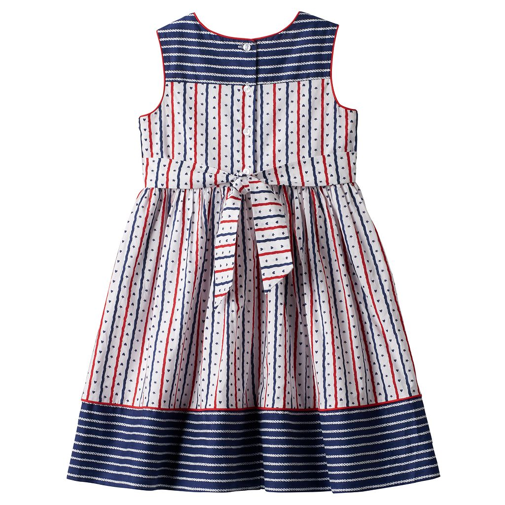 Girls 4-6x Marmellata Classics Americana Red, White & Navy Striped Dress
