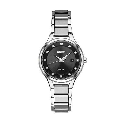 Seiko Women's Diamond Stainless Steel Solar Watch - SUT317