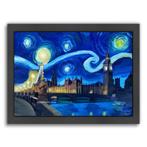 "Americanflat ""Starry Night London Parliament England"" Framed Wall Art"