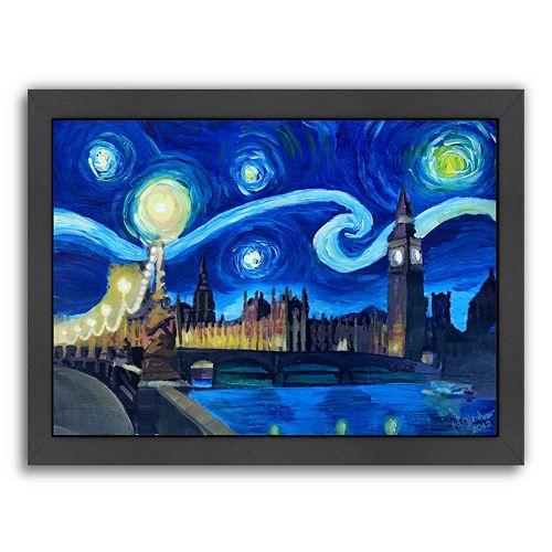 "Americanflat ""Starry Night London Parliament England"" Framed Wall Art"