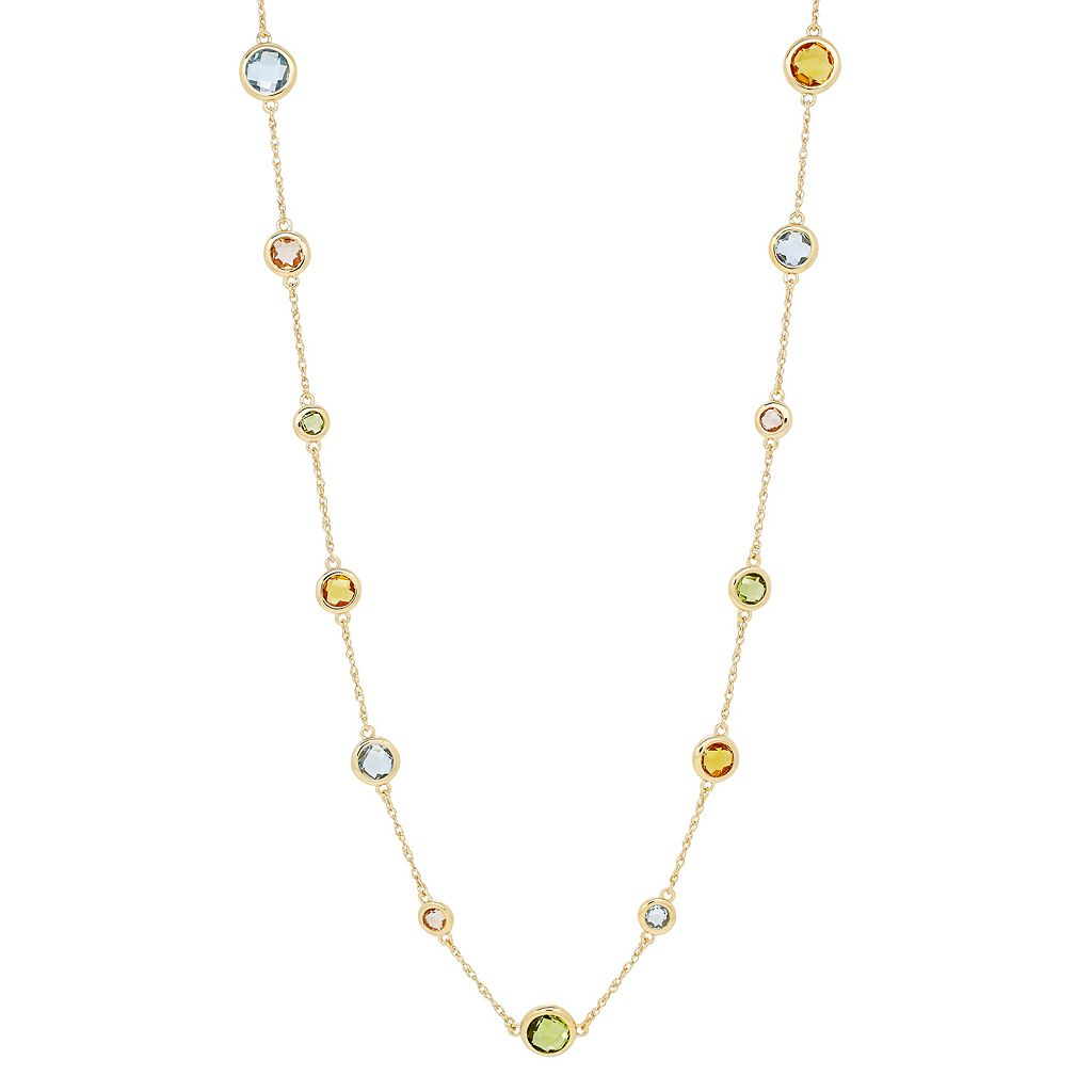 David Tutera 14k Gold Over Silver Simulated Gemstone Station Necklace