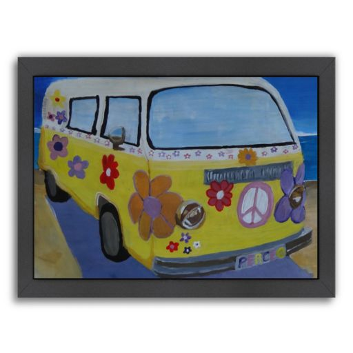 """Americanflat """"The Lady Flower Power Surf Bus"""" Framed Wall Art"""