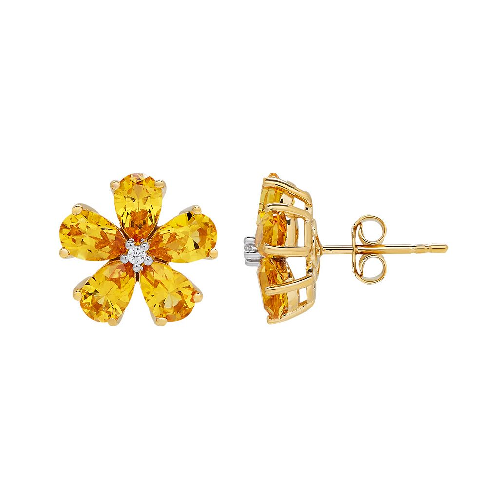 David Tutera 14k Gold Over Silver Simulated Citrine & Cubic Zirconia Flower Stud Earrings