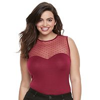Juniors' Plus Size Candie's® Sweetheart Illusion Bodysuit