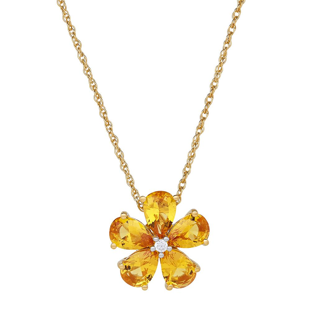 David Tutera 14k Gold Over Silver Simulated Citrine & Cubic Zirconia Flower Pendant