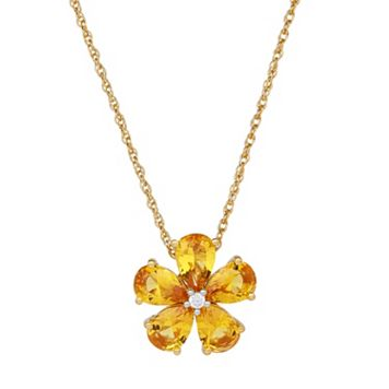 David Tutera 14k Gold Over Silver Simulated Citrine & Cubic Zirconia Flower Pendant