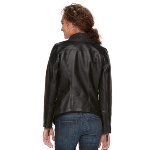 Women's Apt. 9® Faux-Suede Faux-Leather Draped Jacket