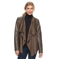 Women's Apt. 9® Faux-Suede Faux-Leather Draped Jacket