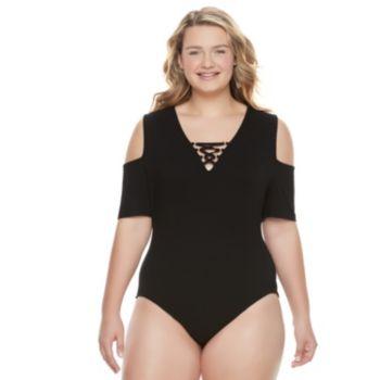 Juniors' Plus Size Candie's® Lace-Up Cold Shoulder Bodysuit