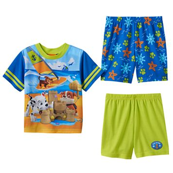 Toddler Boy Paw Patrol Chase, Marshall & Rubble Beach 3-pc. Pajama Set