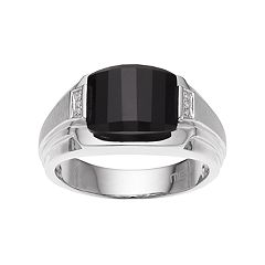 Men's Sterling Silver Onyx & Diamond Accent Ring