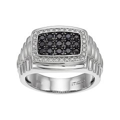Men's Sterling Silver Black Sapphire & 1/6 Carat T.W. Diamond Ring