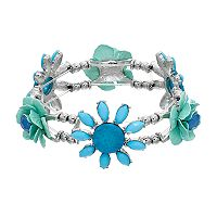 Aqua Flower Beaded Stretch Bracelet