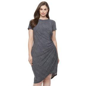 Plus Size Suite 7 Ruched Denim Sheath Dress