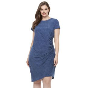Plus Size Suite 7 Ruched Denim Sheath Dress