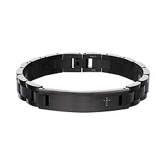 Men's Black Stainless Steel Black Diamond Accent Cross Bracelet
